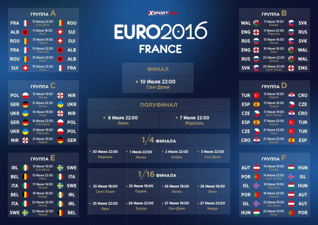 расписание евро 2016