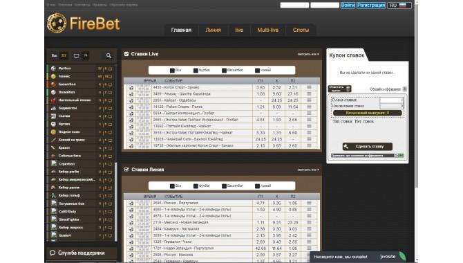 Fire Bet com. Внешний вид сайта, линия и коэффициенты