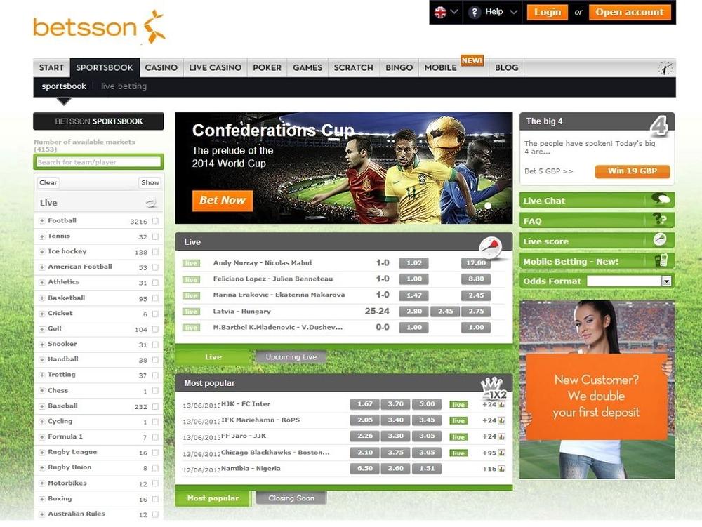 БК Betsson - главная страница