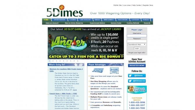 5dimes - внешний вид сайта