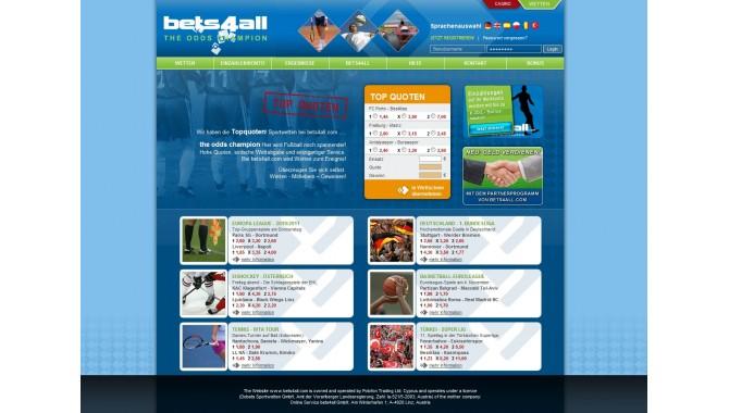 Bets4all - главная страница сайта