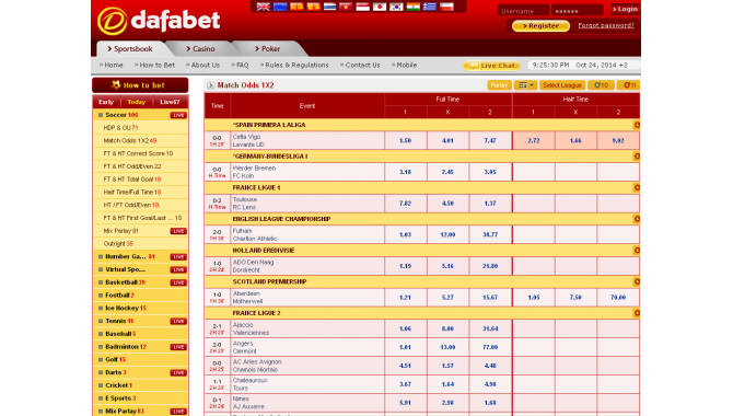Dafabet Live Betting