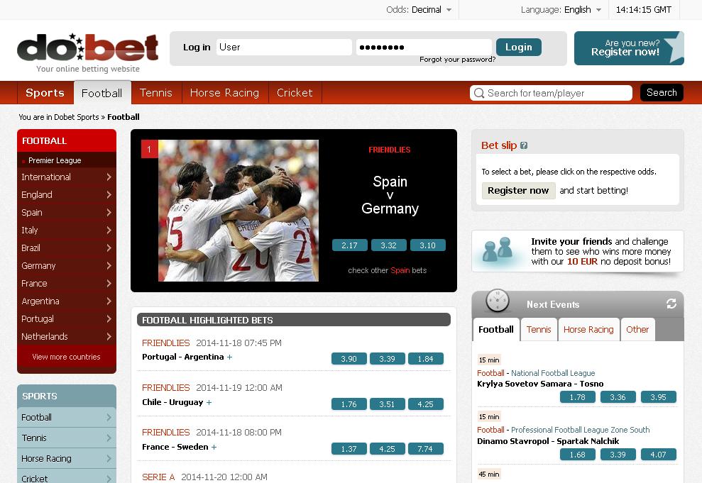 bet deposit online no football free