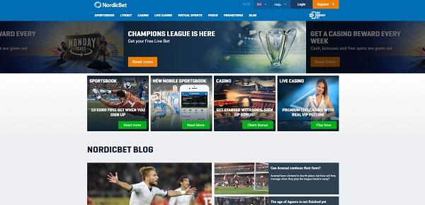 Nordicbet - главная страница