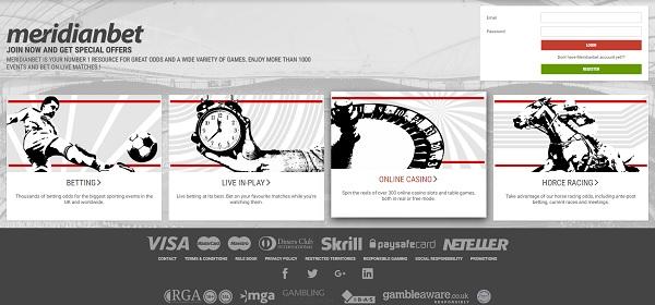 MeridianBet com - главная страница сайта