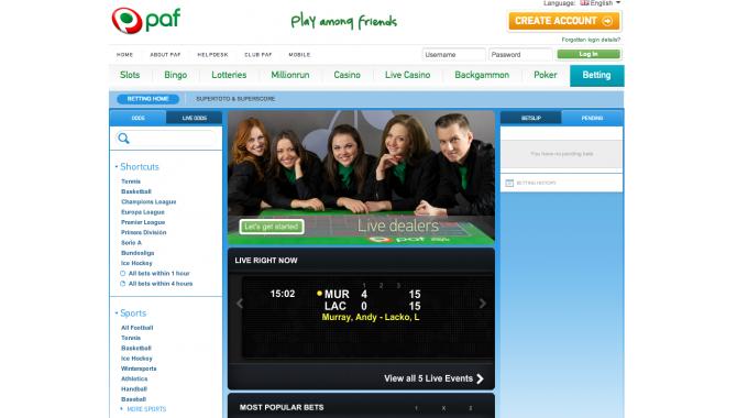 Paf - букмекерская контора. Интерфейс сайта