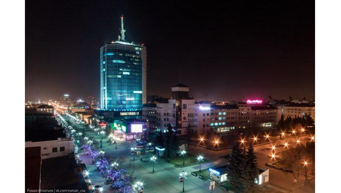 1xbet. Адреса в Челябинске. Панорама ночного города